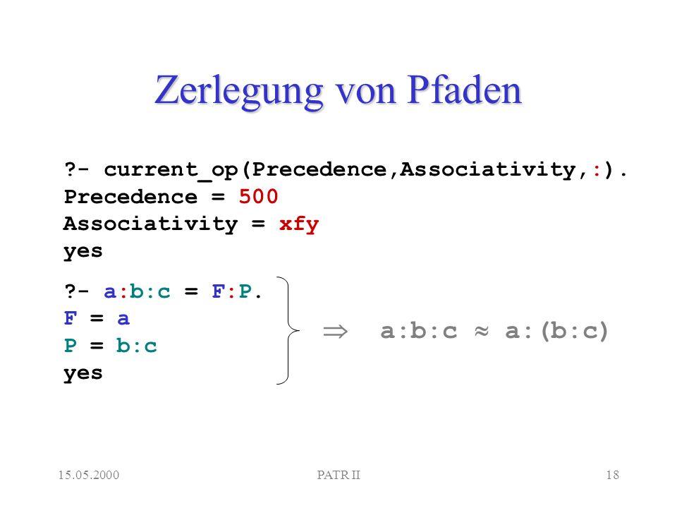 15.05.2000PATR II18 Zerlegung von Pfaden - current_op(Precedence,Associativity,:).