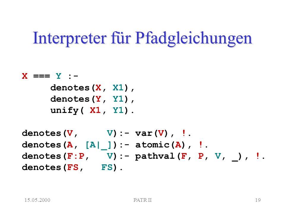 15.05.2000PATR II19 Interpreter für Pfadgleichungen X === Y :- denotes(X, X1), denotes(Y, Y1), unify( X1, Y1).