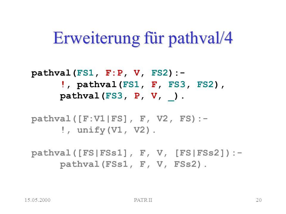 15.05.2000PATR II20 Erweiterung für pathval/4 pathval(FS1, F:P, V, FS2):- !, pathval(FS1, F, FS3, FS2), pathval(FS3, P, V, _).