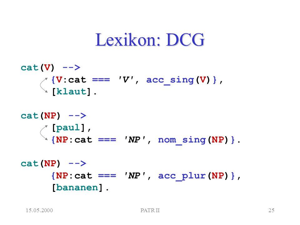 15.05.2000PATR II25 Lexikon: DCG cat(V) --> {V:cat === V , acc_sing(V)}, [klaut].