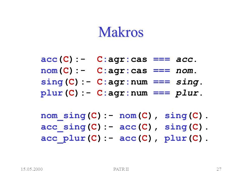 15.05.2000PATR II27 Makros acc(C):- C:agr:cas === acc.