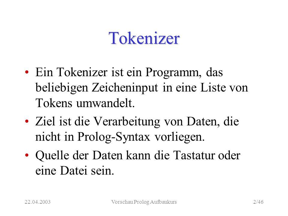 22.04.2003Vorschau Prolog Aufbaukurs2/46 Tokenizer Ein Tokenizer ist ein Programm, das beliebigen Zeicheninput in eine Liste von Tokens umwandelt.
