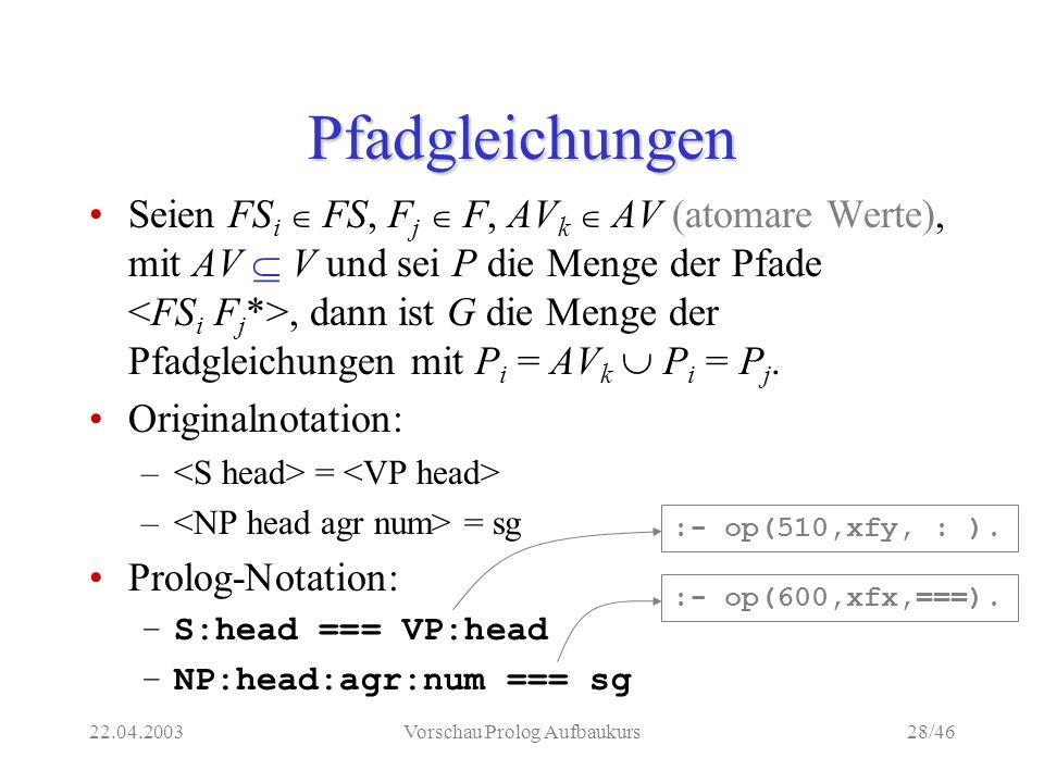 22.04.2003Vorschau Prolog Aufbaukurs28/46 Pfadgleichungen Seien FS i FS, F j F, AV k AV (atomare Werte), mit AV V und sei P die Menge der Pfade, dann ist G die Menge der Pfadgleichungen mit P i = AV k P i = P j.