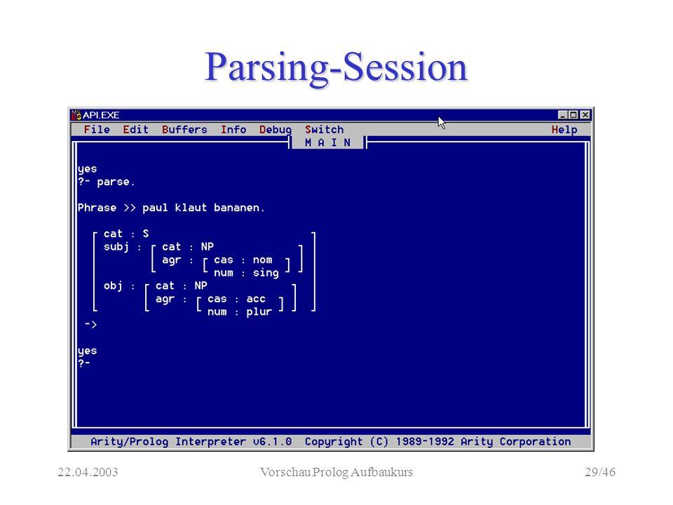 22.04.2003Vorschau Prolog Aufbaukurs29/46 Parsing-Session