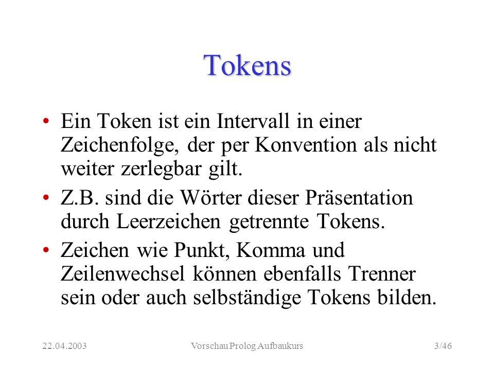 22.04.2003Vorschau Prolog Aufbaukurs3/46 Tokens Ein Token ist ein Intervall in einer Zeichenfolge, der per Konvention als nicht weiter zerlegbar gilt.