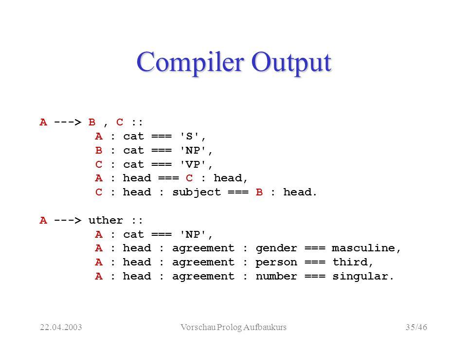 22.04.2003Vorschau Prolog Aufbaukurs35/46 Compiler Output A ---> B, C :: A : cat === S , B : cat === NP , C : cat === VP , A : head === C : head, C : head : subject === B : head.