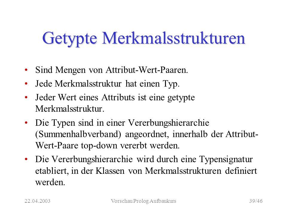 22.04.2003Vorschau Prolog Aufbaukurs39/46 Getypte Merkmalsstrukturen Sind Mengen von Attribut-Wert-Paaren.