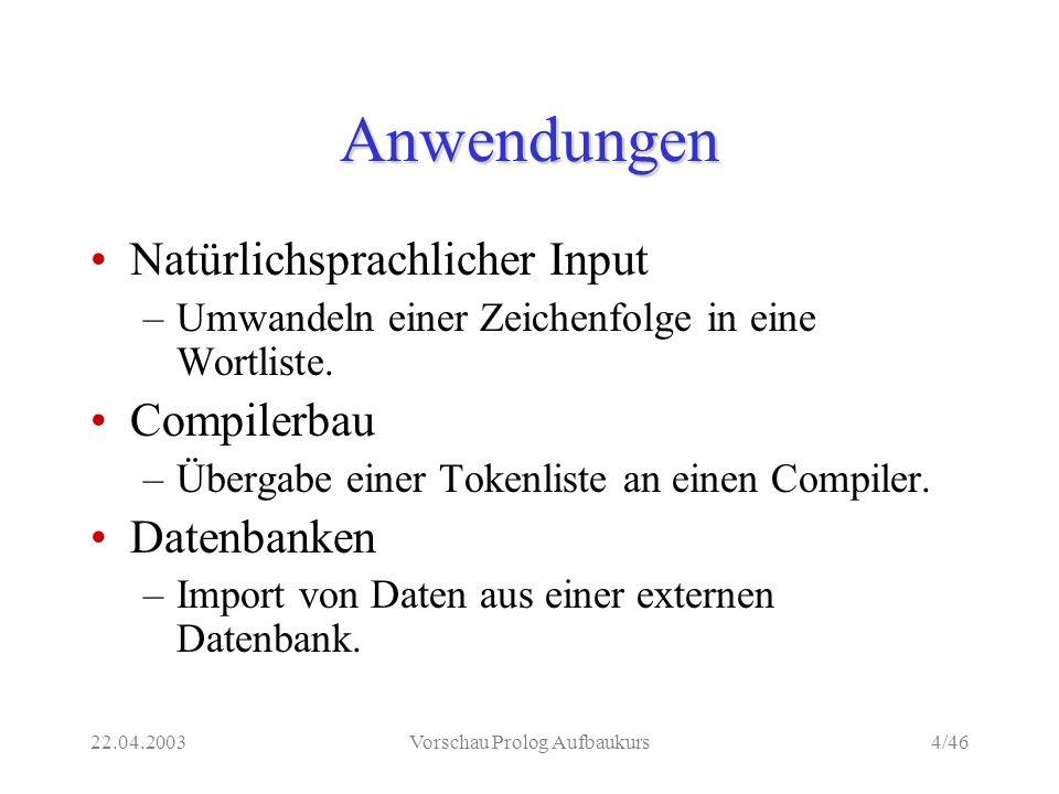 22.04.2003Vorschau Prolog Aufbaukurs4/46 Anwendungen Natürlichsprachlicher Input –Umwandeln einer Zeichenfolge in eine Wortliste.