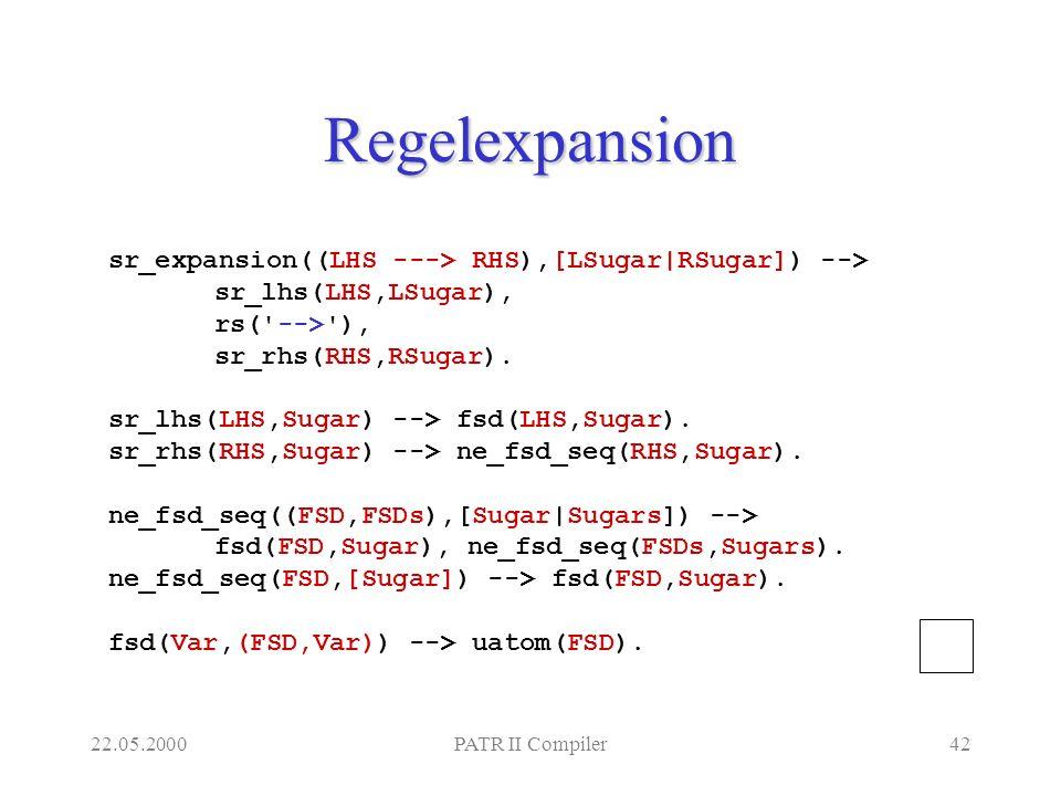22.05.2000PATR II Compiler42 Regelexpansion sr_expansion((LHS ---> RHS),[LSugar|RSugar]) --> sr_lhs(LHS,LSugar), rs( --> ), sr_rhs(RHS,RSugar).