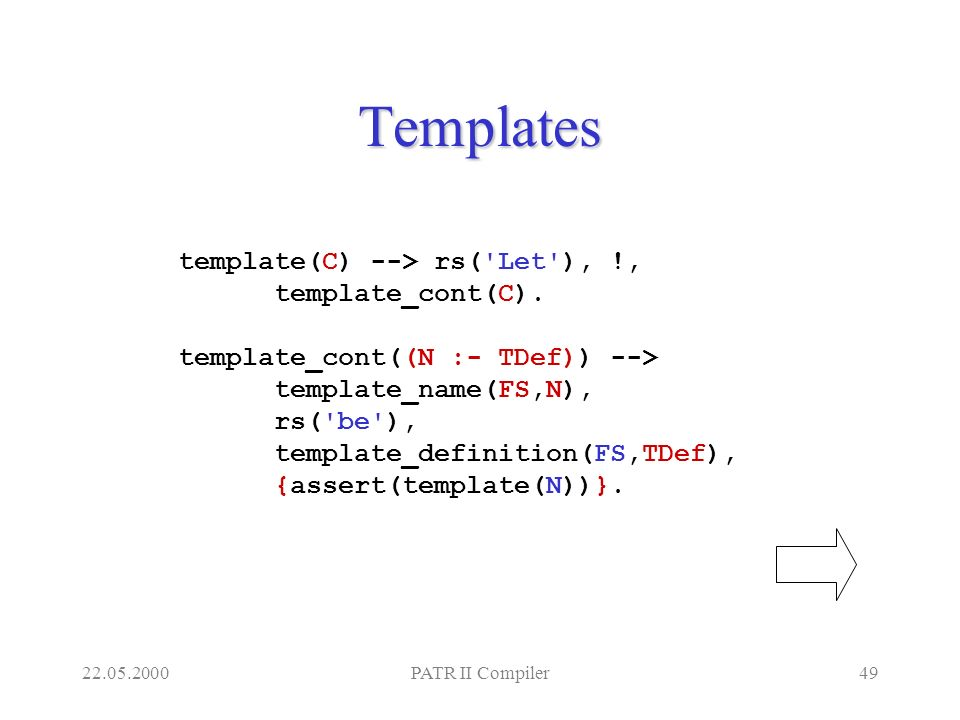 22.05.2000PATR II Compiler49 Templates template(C) --> rs('Let'), !, template_cont(C). template_cont((N :- TDef)) --> template_name(FS,N), rs('be'), t