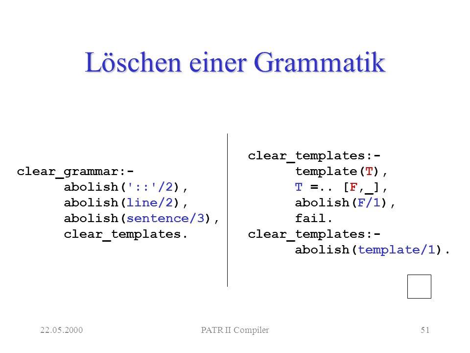 22.05.2000PATR II Compiler51 Löschen einer Grammatik clear_templates:- template(T), T =..