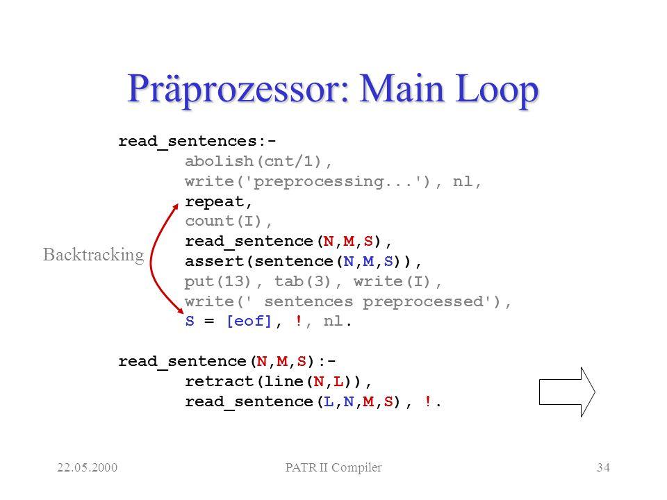 22.05.2000PATR II Compiler34 Präprozessor: Main Loop read_sentences:- abolish(cnt/1), write( preprocessing... ), nl, repeat, count(I), read_sentence(N,M,S), assert(sentence(N,M,S)), put(13), tab(3), write(I), write( sentences preprocessed ), S = [eof], !, nl.