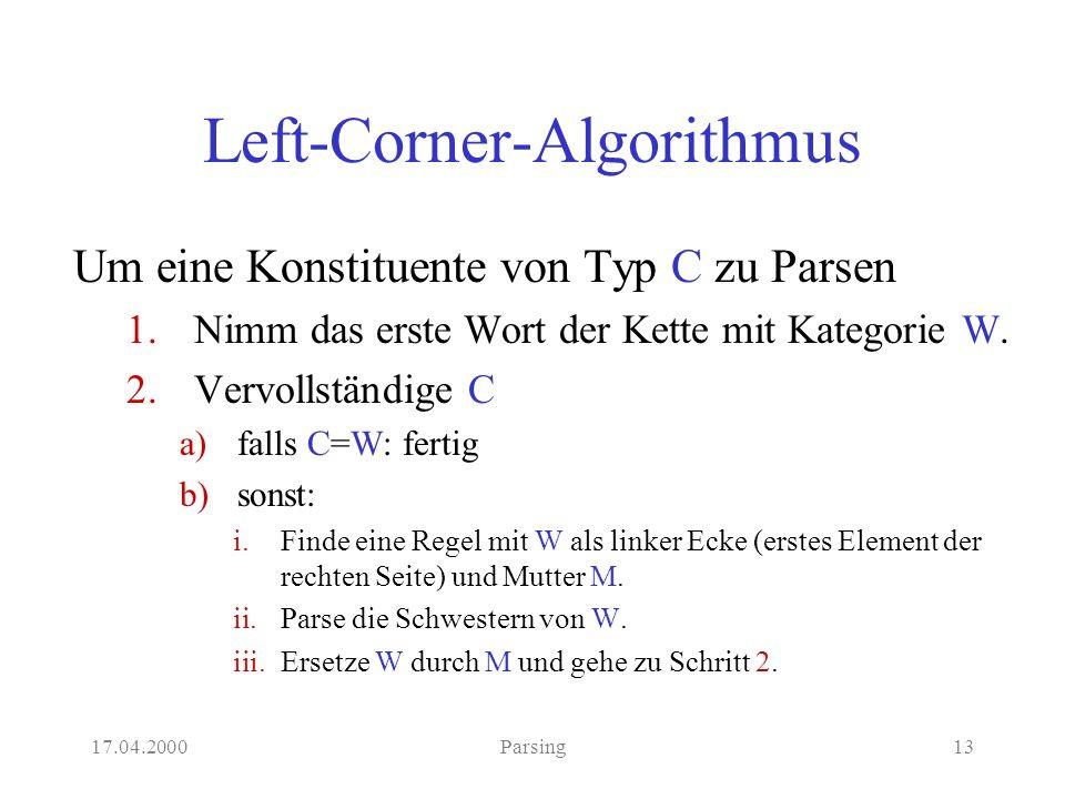 17.04.2000Parsing13 Left-Corner-Algorithmus Um eine Konstituente von Typ C zu Parsen 1.Nimm das erste Wort der Kette mit Kategorie W.