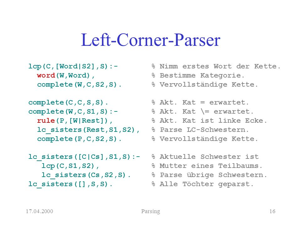17.04.2000Parsing16 Left-Corner-Parser lcp(C,[Word|S2],S):- word(W,Word), complete(W,C,S2,S).