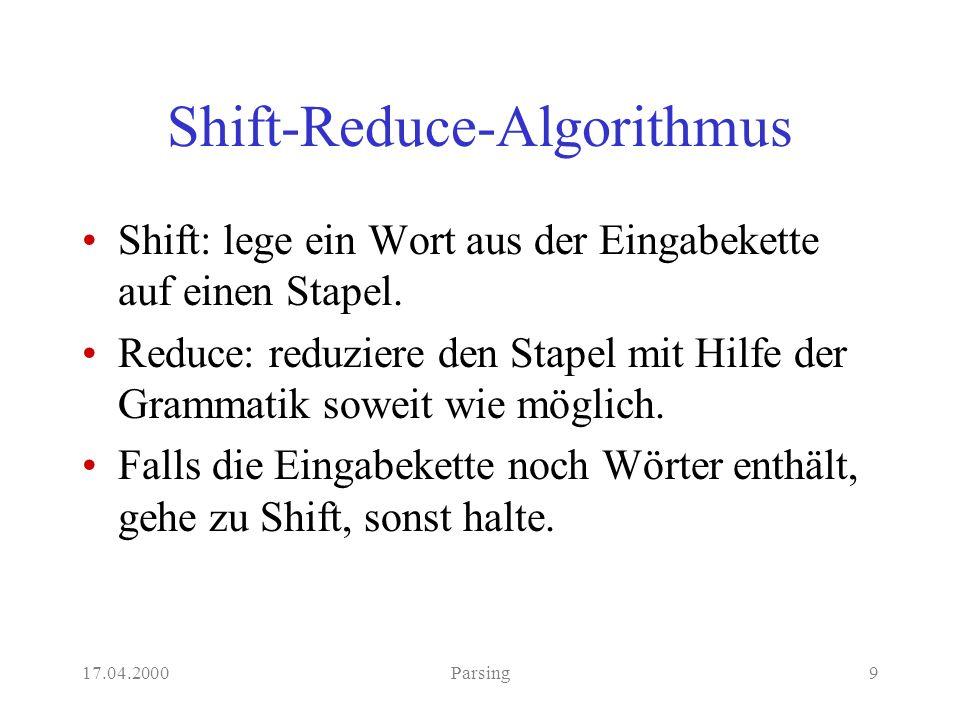17.04.2000Parsing9 Shift-Reduce-Algorithmus Shift: lege ein Wort aus der Eingabekette auf einen Stapel.