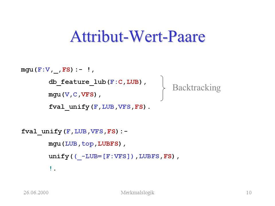 26.06.2000Merkmalslogik10 Attribut-Wert-Paare mgu(F:V,_,FS):- !, db_feature_lub(F:C,LUB), mgu(V,C,VFS), fval_unify(F,LUB,VFS,FS).