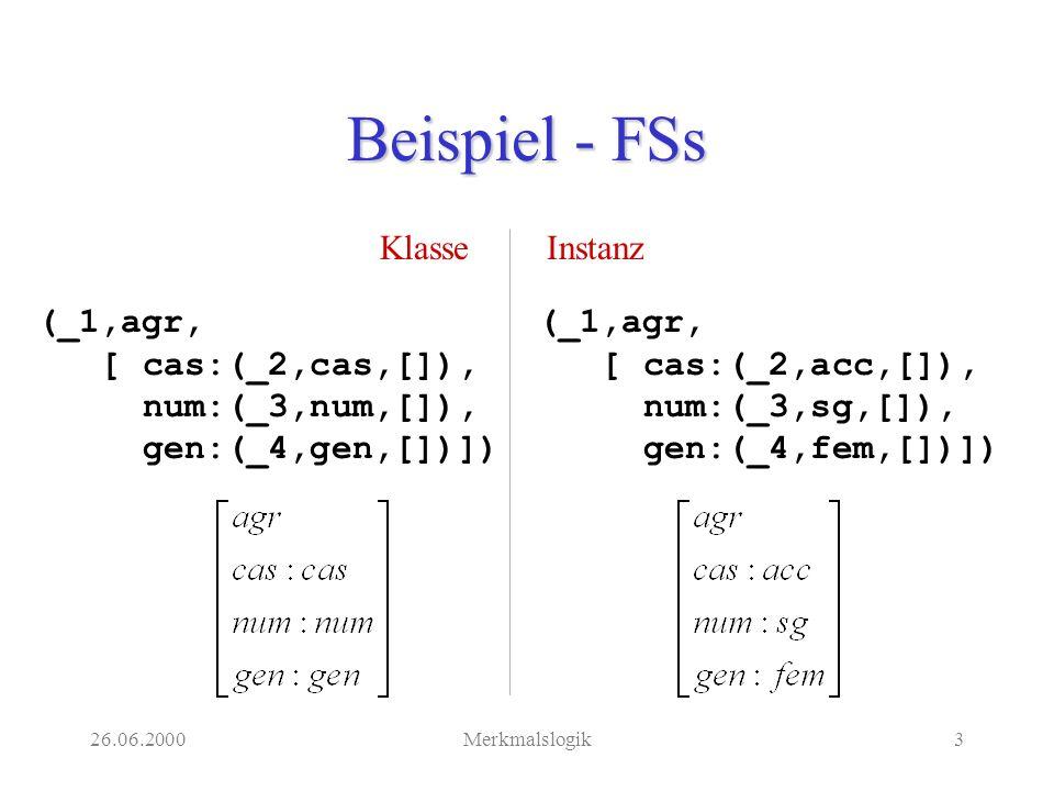 26.06.2000Merkmalslogik4 Merkmalslogik Eine Merkmalslogik definiert eine Beschreibungssprache für Merkmalsstrukturen.