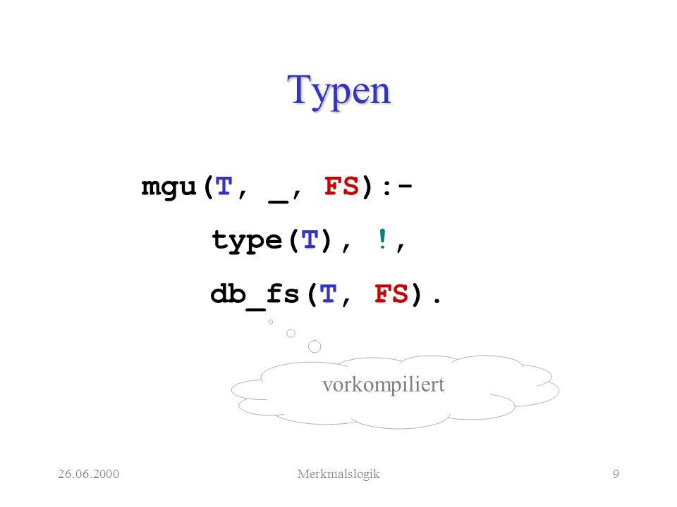 26.06.2000Merkmalslogik20 Doppelte Negation mgu(-(-(D)),I):- !, mgu(D,I).
