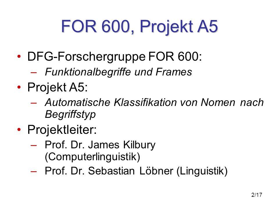 2/17 FOR 600, Projekt A5 DFG-Forschergruppe FOR 600: – Funktionalbegriffe und Frames Projekt A5: –Automatische Klassifikation von Nomen nach Begriffstyp Projektleiter: –Prof.