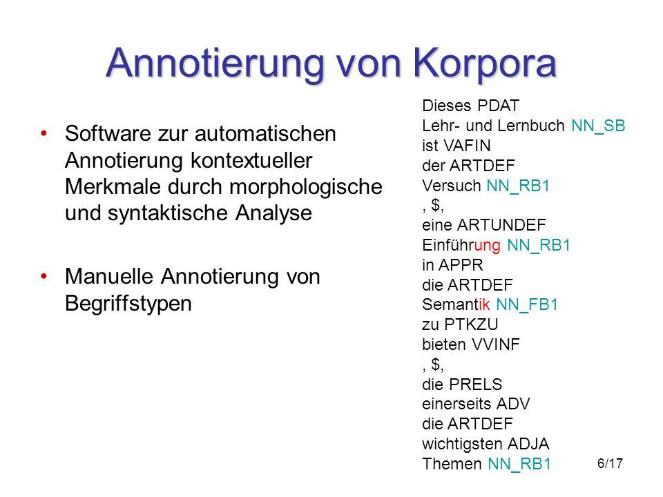 6/17 Annotierung von Korpora Software zur automatischen Annotierung kontextueller Merkmale durch morphologische und syntaktische Analyse Manuelle Annotierung von Begriffstypen Dieses PDAT Lehr- und Lernbuch NN_SB ist VAFIN der ARTDEF Versuch NN_RB1, $, eine ARTUNDEF Einführung NN_RB1 in APPR die ARTDEF Semantik NN_FB1 zu PTKZU bieten VVINF, $, die PRELS einerseits ADV die ARTDEF wichtigsten ADJA Themen NN_RB1