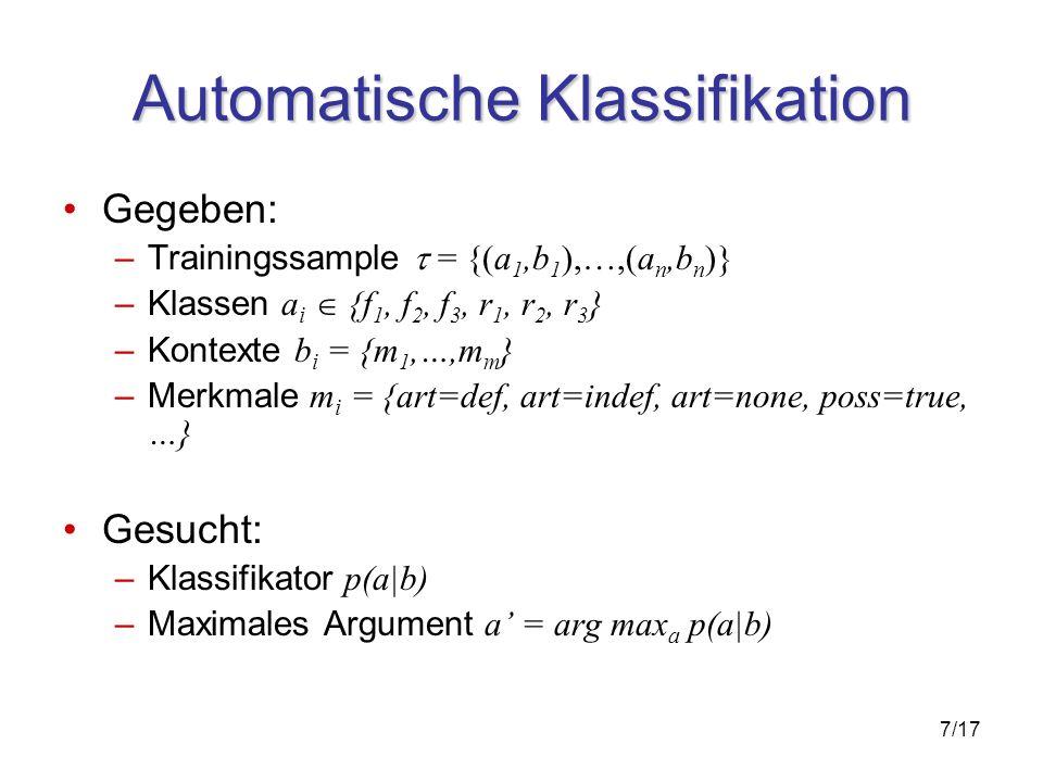 7/17 Automatische Klassifikation Gegeben: –Trainingssample = {(a 1,b 1 ),…,(a n,b n )} –Klassen a i {f 1, f 2, f 3, r 1, r 2, r 3 } –Kontexte b i = {m 1,…,m m } –Merkmale m i = {art=def, art=indef, art=none, poss=true, …} Gesucht: –Klassifikator p(a|b) –Maximales Argument a = arg max a p(a|b)