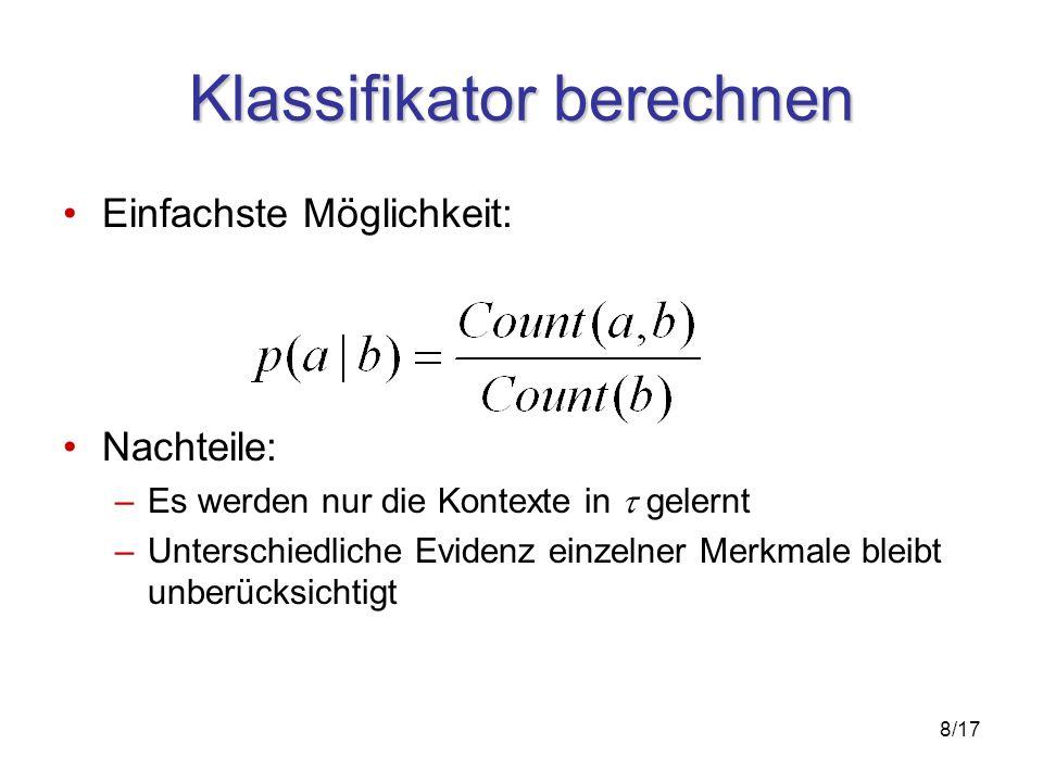 9/17 Maximum Entropie Modell Dekompositon der Kontexte in einzelne Merkmale Berechnung der Gewichte (Evidenz) einzelner Merkmale oder deren Kombination für jede Klasse über alle Kontexte Entropie: Anzahl der benötigten Bits zur Darstellung von Ereignissen eines bestimmten Typs (Münze werfen: 1 Bit, Würfeln: 2 ½ Bit) Prinzip der maximalen Entropie: Stecke nur die Information ins Modell, die sicher, bzw.