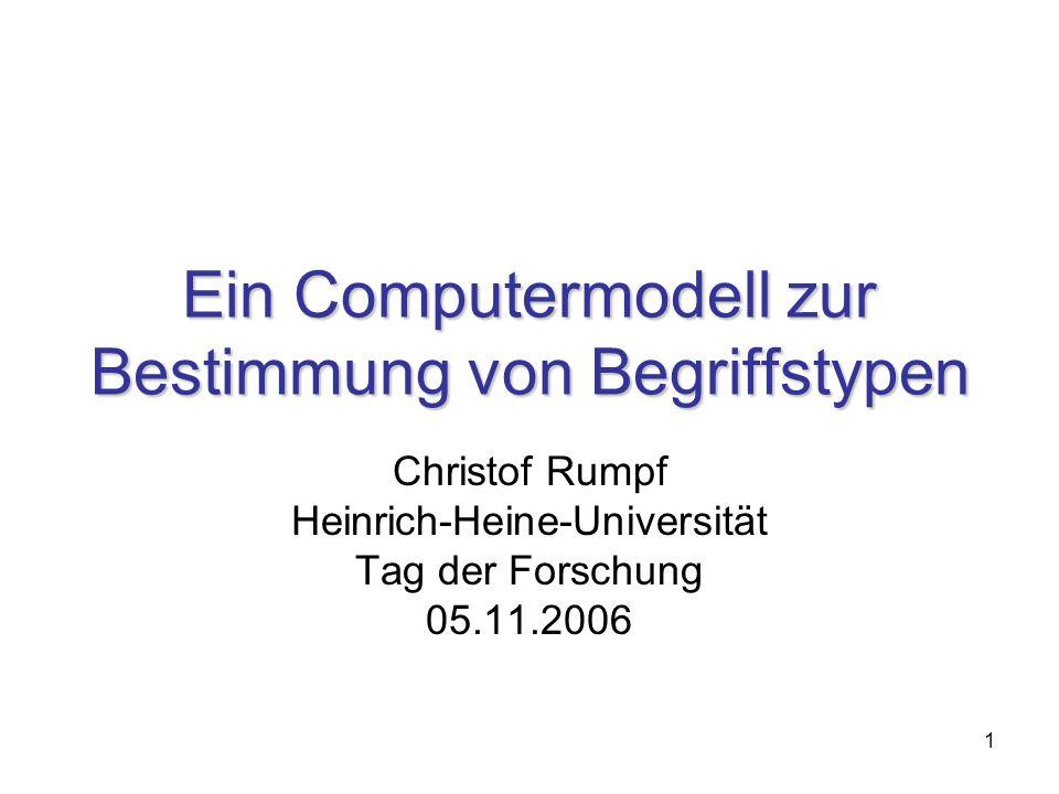 1 Ein Computermodell zur Bestimmung von Begriffstypen Christof Rumpf Heinrich-Heine-Universität Tag der Forschung 05.11.2006