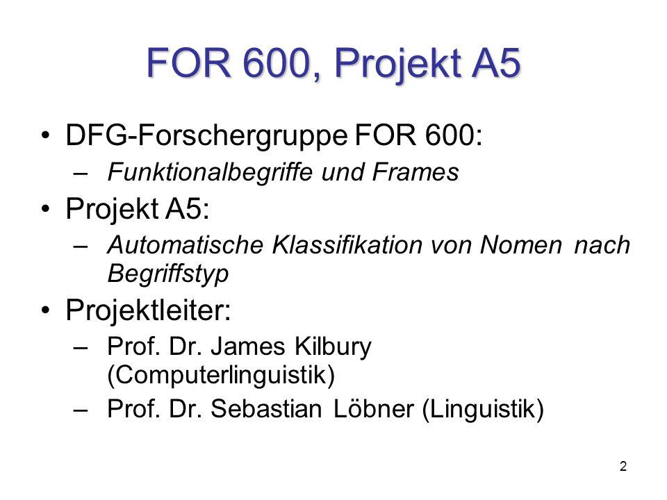 2 FOR 600, Projekt A5 DFG-Forschergruppe FOR 600: – Funktionalbegriffe und Frames Projekt A5: –Automatische Klassifikation von Nomen nach Begriffstyp