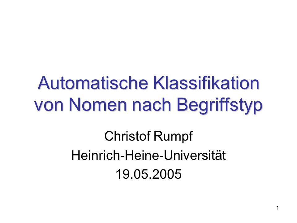 1 Automatische Klassifikation von Nomen nach Begriffstyp Christof Rumpf Heinrich-Heine-Universität 19.05.2005