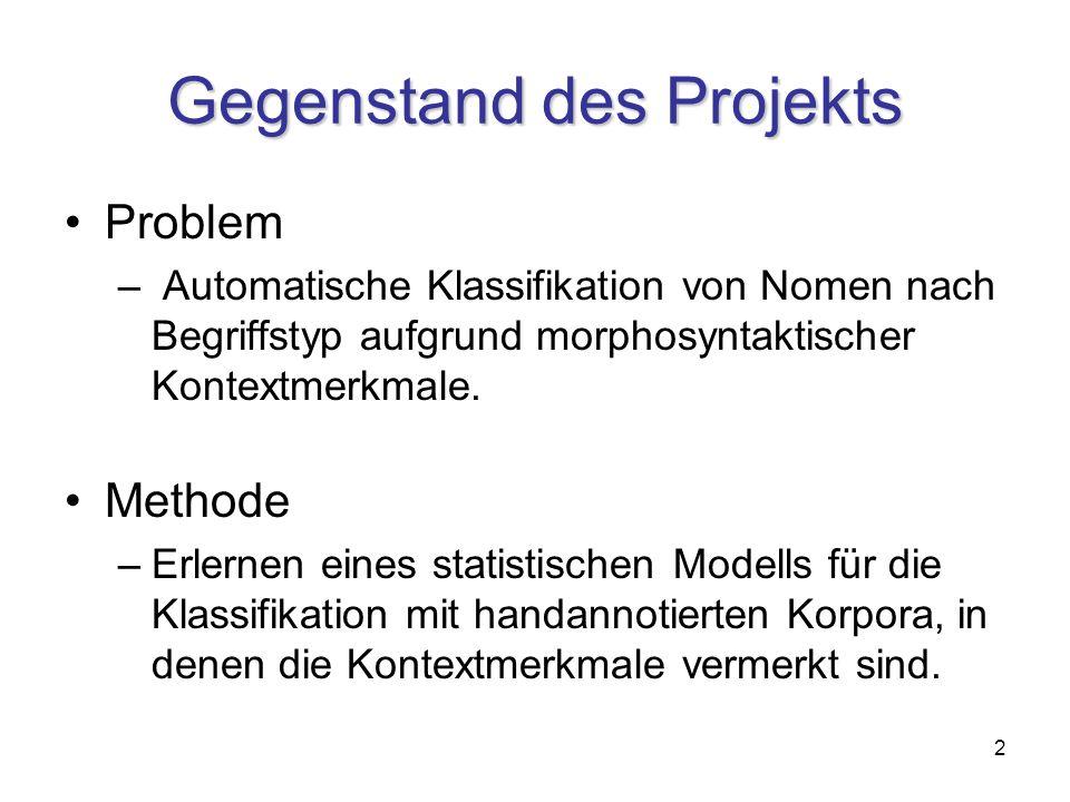 2 Gegenstand des Projekts Problem – Automatische Klassifikation von Nomen nach Begriffstyp aufgrund morphosyntaktischer Kontextmerkmale.