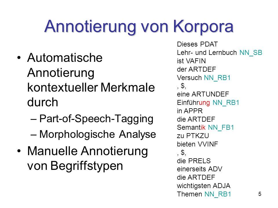 5 Annotierung von Korpora Automatische Annotierung kontextueller Merkmale durch –Part-of-Speech-Tagging –Morphologische Analyse Manuelle Annotierung von Begriffstypen Dieses PDAT Lehr- und Lernbuch NN_SB ist VAFIN der ARTDEF Versuch NN_RB1, $, eine ARTUNDEF Einführung NN_RB1 in APPR die ARTDEF Semantik NN_FB1 zu PTKZU bieten VVINF, $, die PRELS einerseits ADV die ARTDEF wichtigsten ADJA Themen NN_RB1