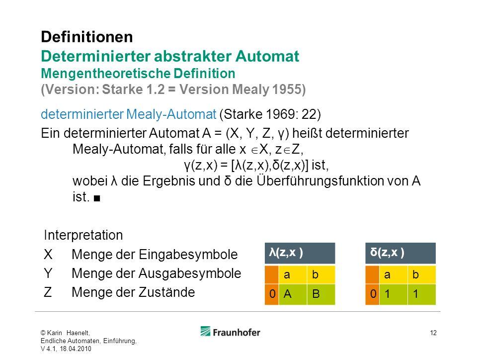 Definitionen Determinierter abstrakter Automat Mengentheoretische Definition (Version: Starke 1.2 = Version Mealy 1955) determinierter Mealy-Automat (