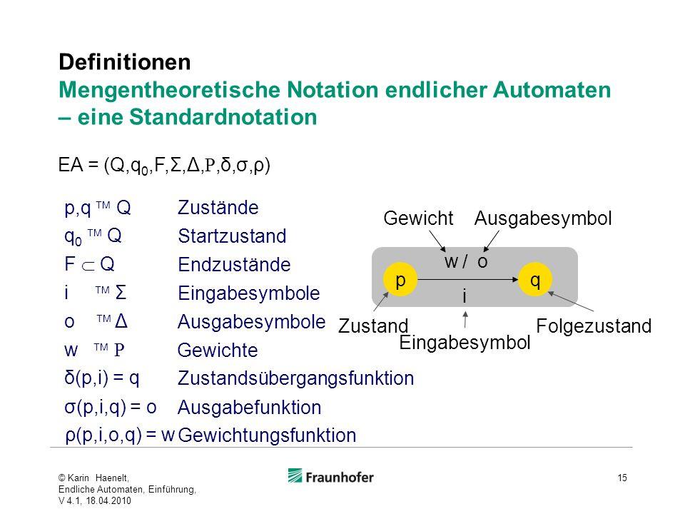 Definitionen Mengentheoretische Notation endlicher Automaten – eine Standardnotation 15 p,q Q δ(p,i) = q σ(p,i,q) = o i Σ o Δ Zustände Eingabesymbole