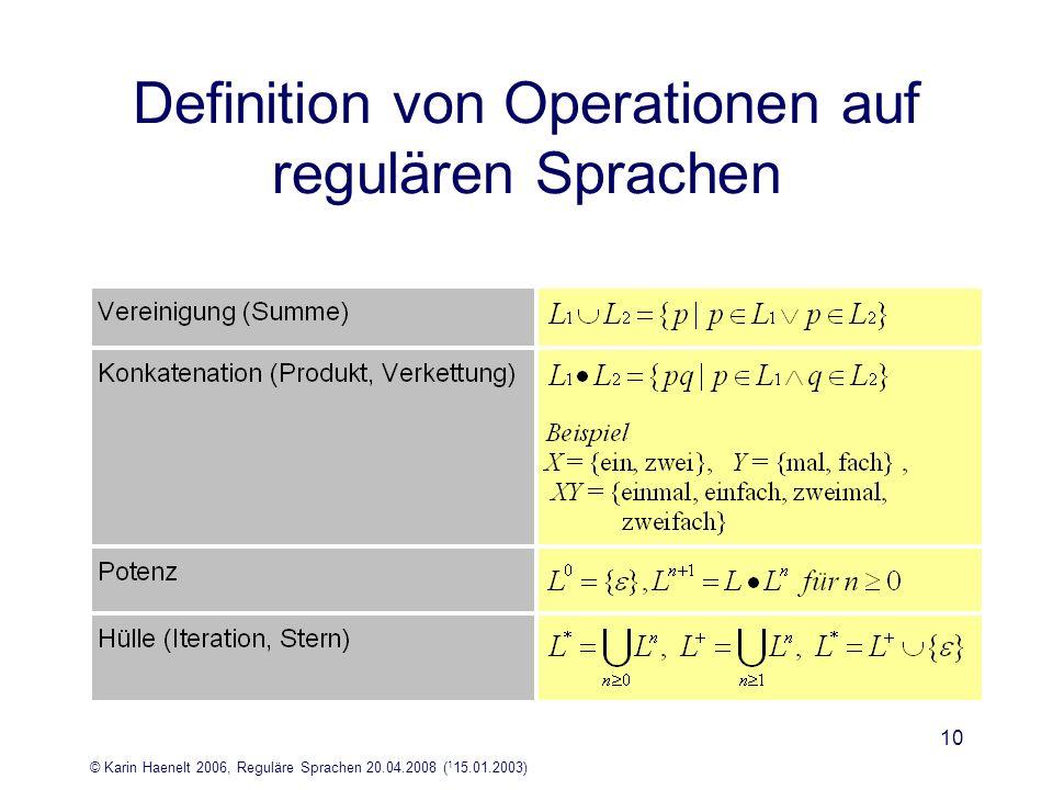 © Karin Haenelt 2006, Reguläre Sprachen 20.04.2008 ( 1 15.01.2003) 10 Definition von Operationen auf regulären Sprachen