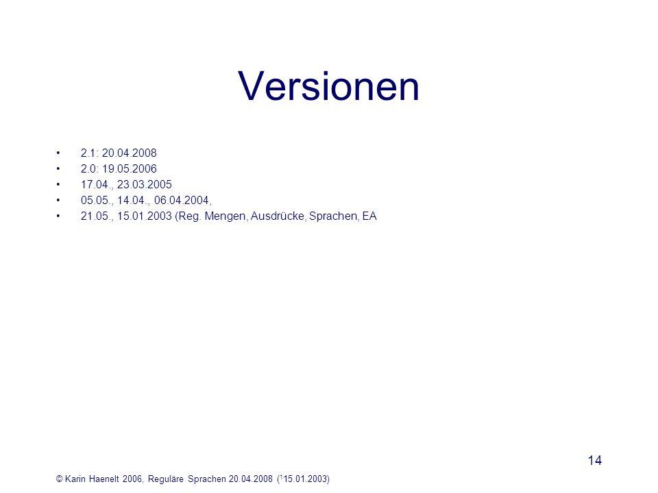 © Karin Haenelt 2006, Reguläre Sprachen 20.04.2008 ( 1 15.01.2003) 14 Versionen 2.1: 20.04.2008 2.0: 19.05.2006 17.04., 23.03.2005 05.05., 14.04., 06.