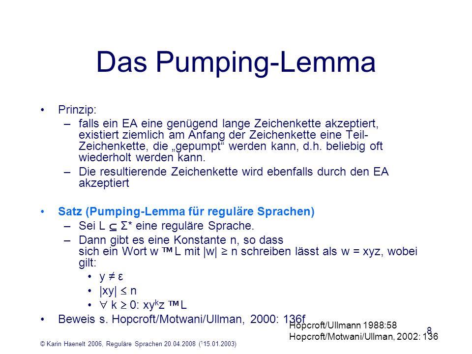© Karin Haenelt 2006, Reguläre Sprachen 20.04.2008 ( 1 15.01.2003) 9 Das Pumping-Lemma: ein Anwendunsgbeispiel Beispiel: die Sprache L={a i b i | i und i 1} ist nicht durch endliche Automaten beschreibbar Überlegung: –ein Automat, der a i b i akzeptiert, akzeptiert auch Zeichenreihen, die er nicht akzeptieren sollte, da sie nicht zu L gehören: Beispiel: a i+x b i (mit x und x 1) –ein endlicher Automat hat endlich viele Zustände –sei k die Anzahl der Zustände –wenn i > k, muss mindestens ein Zustand mehrfach durchlaufen sein –der Automat hat kein Gedächtnis, in dem er zählt, wie viele a er gesehen hat –er befindet sich in dem Zustand hat ein oder mehrere a gesehen –daher akzeptiert er auch a i+x b i, wenn er a i b i akzeptiert Hopcroft/Ullmann 1988:57ff Hopcroft/Motwani/Ullman, 2002: 135ff