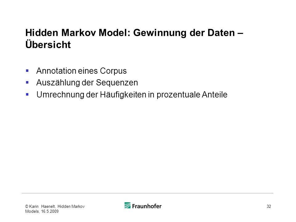 Hidden Markov Model: Gewinnung der Daten – Übersicht Annotation eines Corpus Auszählung der Sequenzen Umrechnung der Häufigkeiten in prozentuale Anteile © Karin Haenelt, Hidden Markov Models, 16.5.2009 32