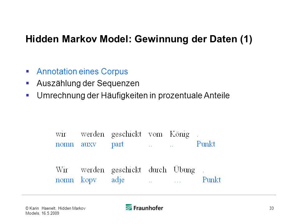 Hidden Markov Model: Gewinnung der Daten (1) Annotation eines Corpus Auszählung der Sequenzen Umrechnung der Häufigkeiten in prozentuale Anteile © Kar