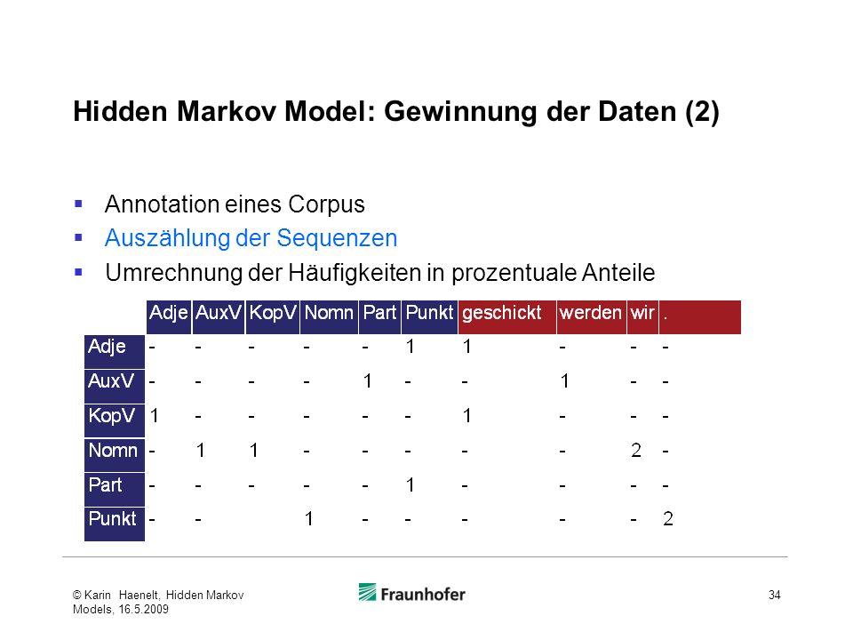Hidden Markov Model: Gewinnung der Daten (2) Annotation eines Corpus Auszählung der Sequenzen Umrechnung der Häufigkeiten in prozentuale Anteile © Karin Haenelt, Hidden Markov Models, 16.5.2009 34