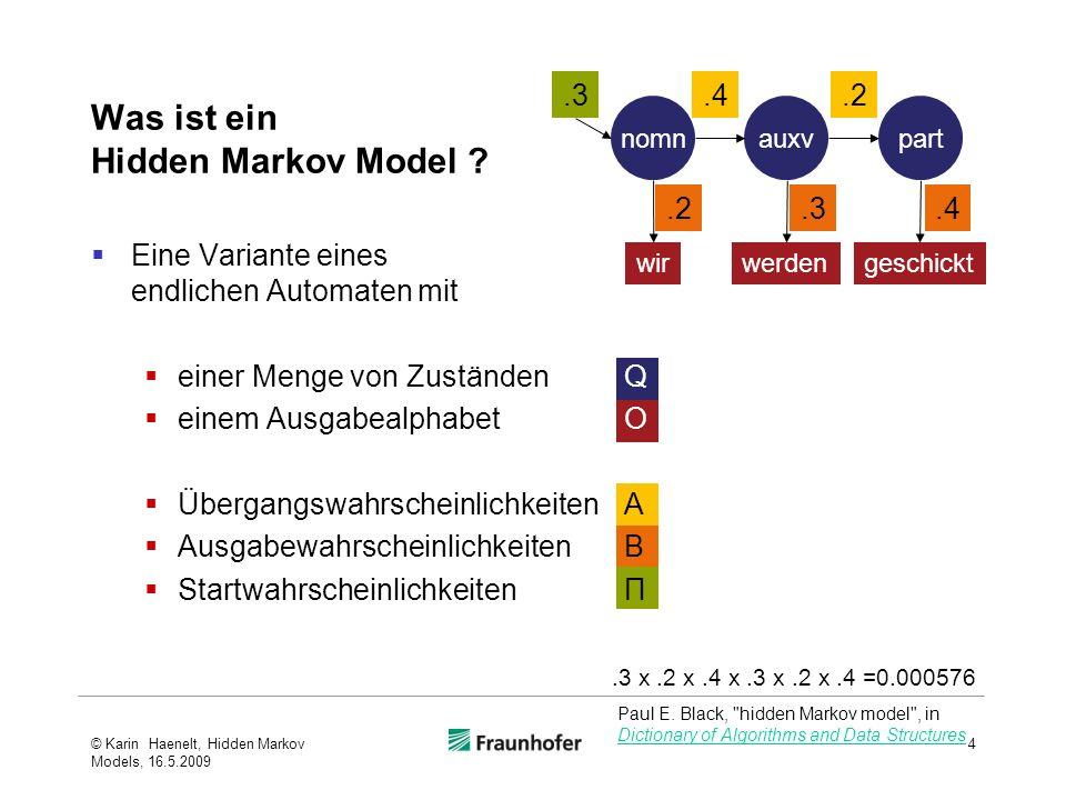 Was ist ein Hidden Markov Model ? Eine Variante eines endlichen Automaten mit einer Menge von Zuständen Q einem Ausgabealphabet O Übergangswahrscheinl