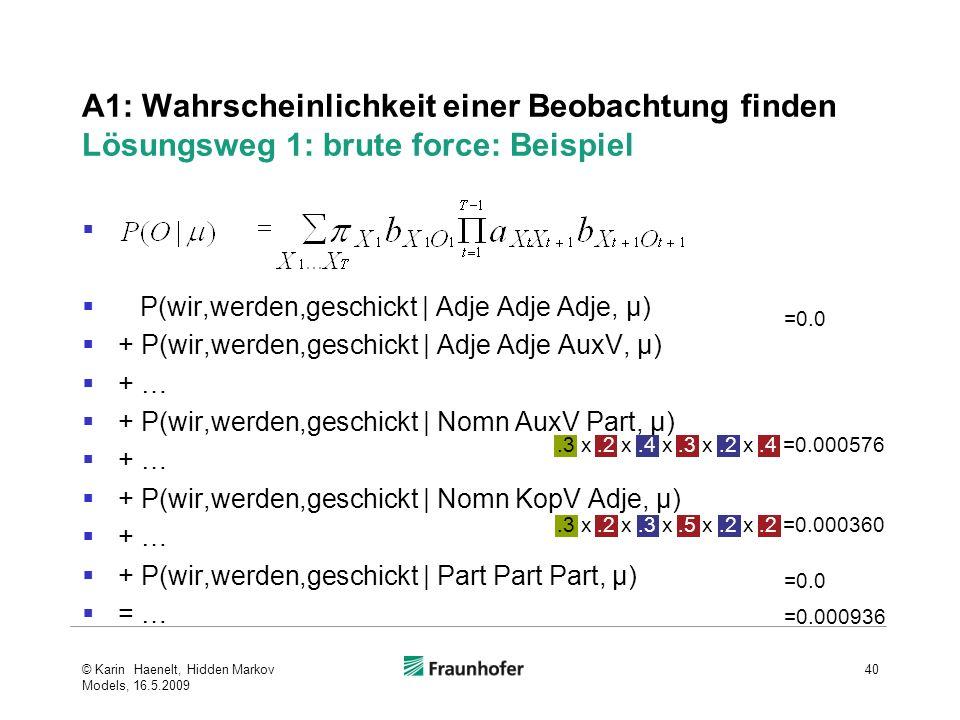 A1: Wahrscheinlichkeit einer Beobachtung finden Lösungsweg 1: brute force: Beispiel P(wir,werden,geschickt | Adje Adje Adje, μ) + P(wir,werden,geschickt | Adje Adje AuxV, μ) + … + P(wir,werden,geschickt | Nomn AuxV Part, μ) + … + P(wir,werden,geschickt | Nomn KopV Adje, μ) + … + P(wir,werden,geschickt | Part Part Part, μ) = … © Karin Haenelt, Hidden Markov Models, 16.5.2009 40.3 x.2 x.3 x.5 x.2 x.2 =0.000360.3 x.2 x.4 x.3 x.2 x.4 =0.000576 =0.0 =0.000936