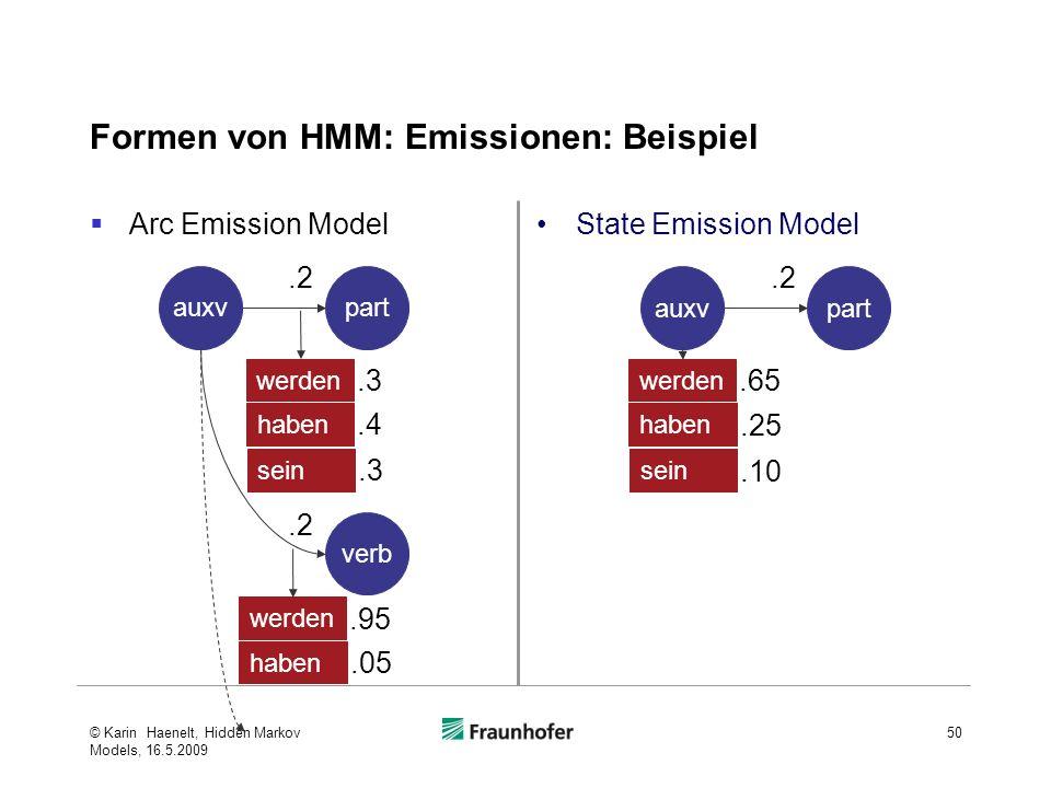 Arc Emission Model Formen von HMM: Emissionen: Beispiel © Karin Haenelt, Hidden Markov Models, 16.5.2009 50 auxvpart werden.2.3 verb haben.4 werden.95 haben.05 sein.3.2 State Emission Model auxvpart werden.2.65 haben.25 sein.10
