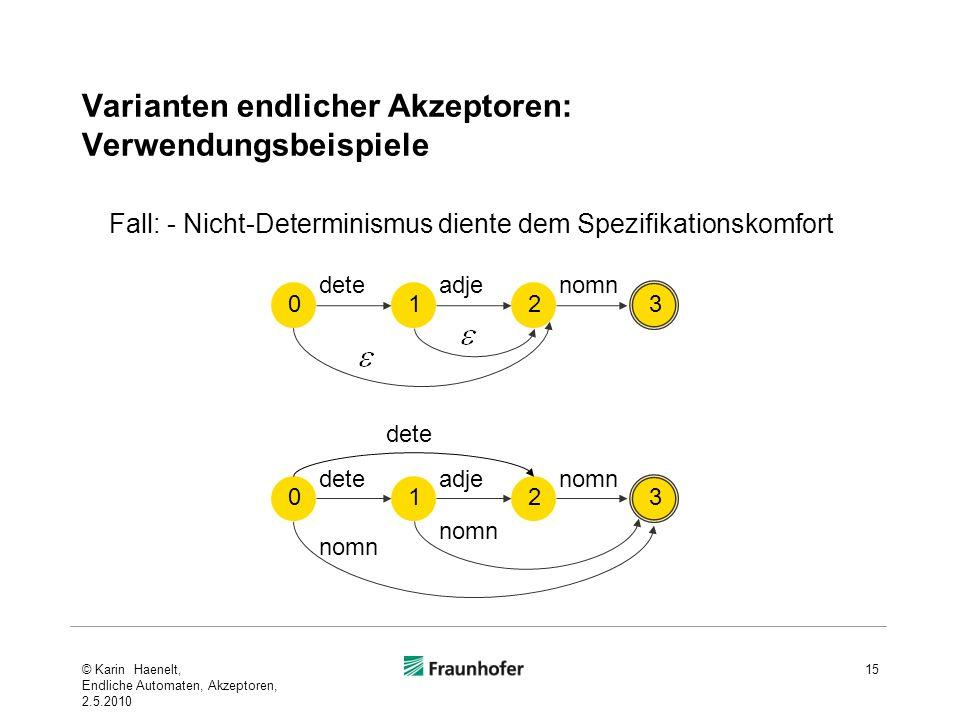 Varianten endlicher Akzeptoren: Verwendungsbeispiele 15 Fall: - Nicht-Determinismus diente dem Spezifikationskomfort 0 dete 1 adje 2 nomn 3 dete 0 1 a
