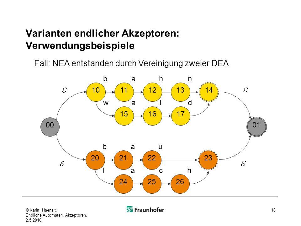 Varianten endlicher Akzeptoren: Verwendungsbeispiele 16 bha wlda 101112 14 151617 13 n bua lcha 202122 23 242526 01 00 Fall: NEA entstanden durch Vere