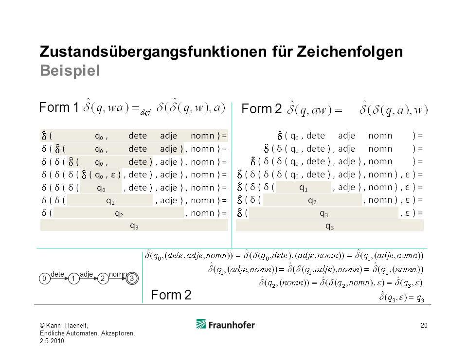 Zustandsübergangsfunktionen für Zeichenfolgen Beispiel 20 Form 1 Form 2 0 dete 1 adje 2 nomn 3 © Karin Haenelt, Endliche Automaten, Akzeptoren, 2.5.20