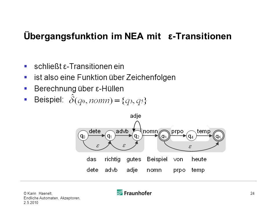 Übergangsfunktion im NEA mit ε-Transitionen schließt ε-Transitionen ein ist also eine Funktion über Zeichenfolgen Berechnung über ε-Hüllen Beispiel: 2