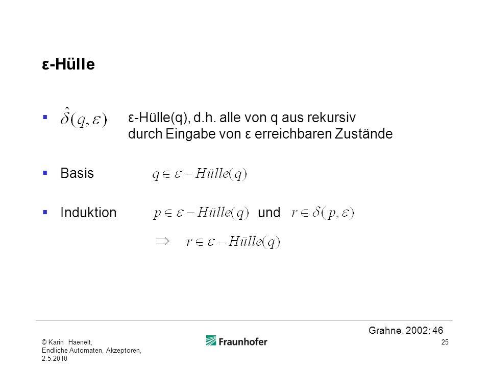 ε-Hülle ε-Hülle(q), d.h. alle von q aus rekursiv durch Eingabe von ε erreichbaren Zustände Basis Induktion und 25 Grahne, 2002: 46 © Karin Haenelt, En