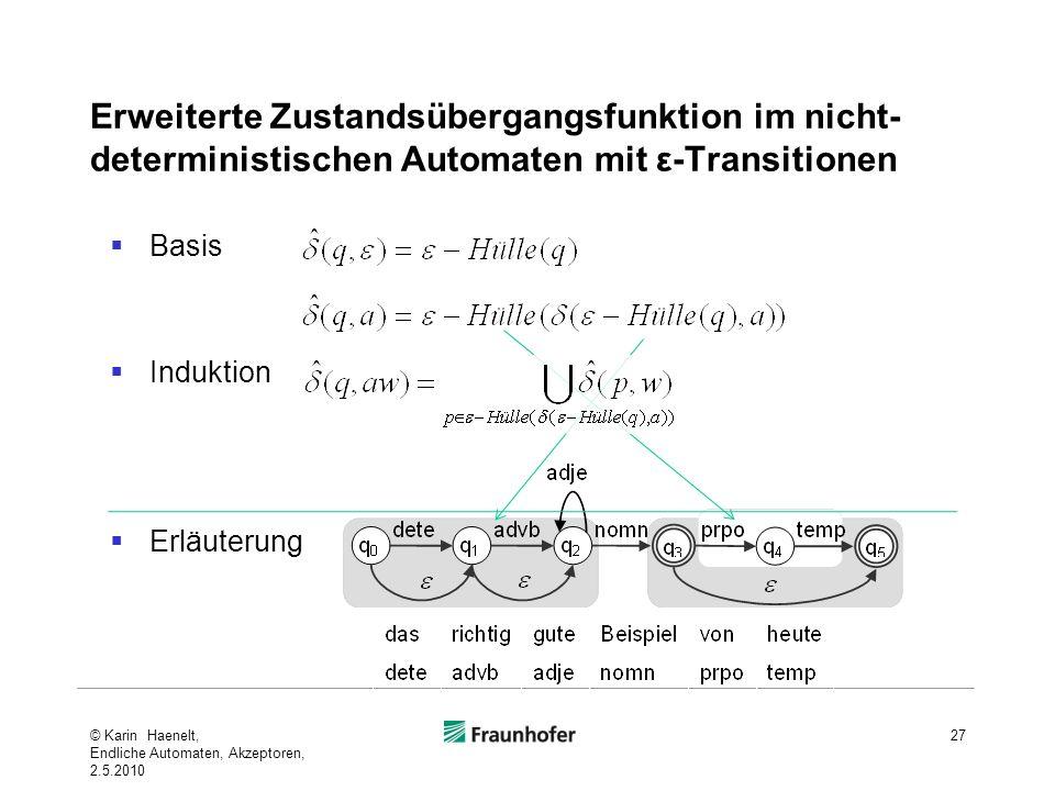 Erweiterte Zustandsübergangsfunktion im nicht- deterministischen Automaten mit ε-Transitionen Basis Induktion Erläuterung 27© Karin Haenelt, Endliche