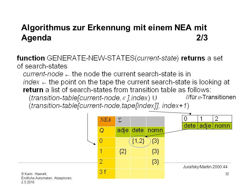 Algorithmus zur Erkennung mit einem NEA mit Agenda2/3 32 Jurafsky/Martin 2000:44 //für -Transitionen © Karin Haenelt, Endliche Automaten, Akzeptoren,