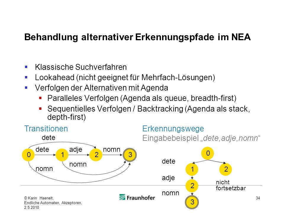 Behandlung alternativer Erkennungspfade im NEA Klassische Suchverfahren Lookahead (nicht geeignet für Mehrfach-Lösungen) Verfolgen der Alternativen mi